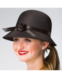 Chapeau Noir des Années 20 avec Fleur