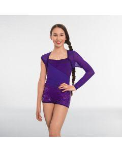 1st Position Combi-Short Pailleté Violet à Une Seule Manche