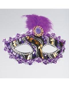 Masque Violet Noir & Doré avec Plume et Pierre