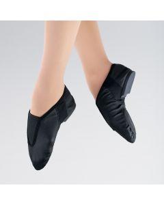 1st Position Chaussures de Jazz Noires Flexibles avec devant en Cuir Souple