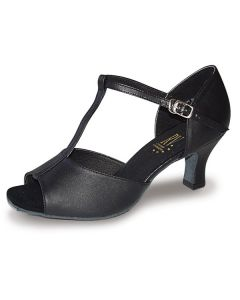 Roch Valley 2Lcl Ladies Ballroom Leather Shoe In Leather with T-Bar Straps 2 inch Flared Heel