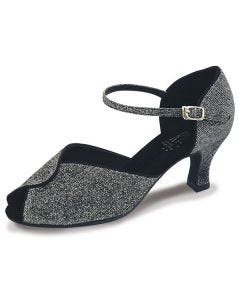 Roch Valley Sylvia Ladies Ballroom Brocade Shoe with Ankle Strap 2.2 inch Flared Heel
