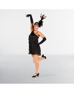Robe Flapper Noire à Paillettes Taille Unique Adulte