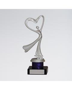 Trophée Coeur Argenté Danse Abstraite
