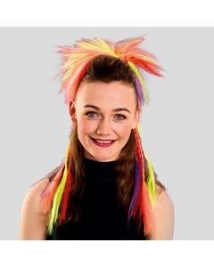 Faux cheveux multicolores avec tresses sur peigne
